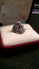 ruby ring sterling silver 3 stones ornate size 7.5