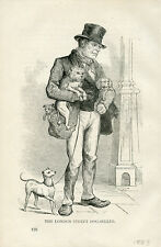 ITALIAN GREYHOUND POODLE ANTIQUE DOG PRINT ENGRAVING - London Street Dog-Seller