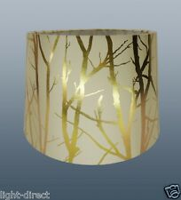 "CREAM LAMPSHADE TREE BRANCH EFFECT 11"" EMPIRE DRUM  CEILING OR TABLE LAMP SHADE"