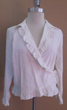 LRL Lauren Jeans Co. Ralph Lauren white jean denim ruffle jacket Size 12