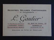 Ancienne carte de visite GAUTIER reliure encadrement Marseille old visit card