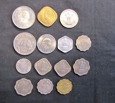 Lot of 14 India Coins - 1 Rupee: 1962, 1964; 50 Paise: 1962, 1964; 1 Anna: 1945,
