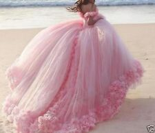 Romantic Pink Flowers Tulle Wedding dress Bridal Gown Size 6.8.10.14.16.+