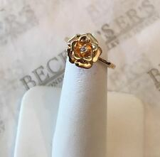 14k yg 3-d Rose Petaled Flower Ring with a Round Diamond Center, .02 ct, size 6