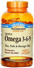 Sundown Omega 3-6-9 Triple Softgel 200ct