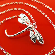 FSA974 GENUINE REAL 925 STERLING SILVER SF DRAGON FLY PENDANT NECKLACE CHAIN