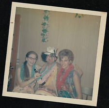 Vintage Photograph People Crazy Costumes Hawaiian Leis Drinking Beer Halloween