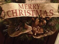 """Primitive Wired Burlap Ribbon Banner Merry Christmas Ornament Garland 25"""" LRG"""