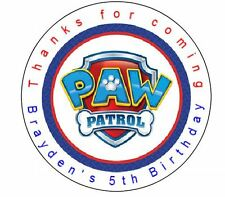 12 Paw Patrol Shield Birthday Favor Label Stickers Personalized for YOU 2.5""