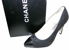 CHANEL CC logo Cap toe Black Hidden Platform Classic Pump Heel Shoes 40.5 / 10