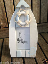 Shabby Chic Small Rowing Boat & Life Ring Picture / Photo Frame, Coastal.