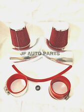 """3.5"""" RED Dual Twin Air Intake Induction Kit + Filter For 02-07 DODGE RAM 1500"""