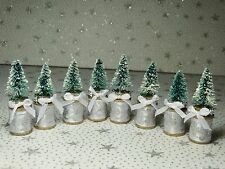 Sisal Bottle Brush Trees Snow Covered Christmas Wooden Thread Spools New Lot 8