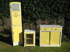 1940s 1950s VINTAGE RETRO KITCHEN CABINET PANTRY LARDER 3 PIECE SET LEMON YELLOW