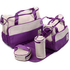 Baby Nappy Diaper Changing Travel Bag Handbag 5 Piece Set(Violet)