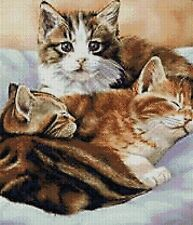REDUCED PRICE - 3 KITTENS - CROSS STITCH KIT (Count 14, Animals/ Insects, Cats)