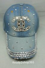 Bling Rhinestone Studded Ballcap Womans Cap Baseball Hat Tennis Denim New