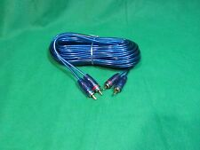 SAMURAI 2 CHANNEL GOLD RCA TO RCA SPIRAL BLUE SHIELDED AUDIO CABLE, 15 FT.