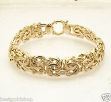 "8"" Bold 13.50mm Wide Classic Byzantine Bracelet Real 14K Yellow Gold QVC"