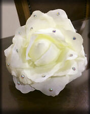 Big White Rose Claw Clip Bling, Crystal Bride/Bridal Hair Accessory, Jaw Clip