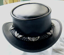 BLACK LEATHER STEAMPUNK / GOTHIC MENS COACHMAN HAT W. SKULL & WINGS BADGES