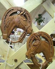 Set of 2 Vintage Plaster Horse Head Wall Plaques. Brown, Very NIce