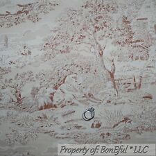BonEful Fabric FQ Cotton Quilt VTG Brown Tan Natural Toile Central Park Antique