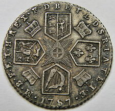 1787 GREAT BRITAIN, SIXPENCE - GEORGE III - WITH SEMEE OF HEARTS