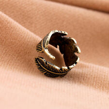 1 X Vintage Feather Ring Hot Sale Jewelry Punk Fashion Sizeable Rings For Women