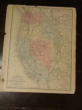 1870 Hand Colored Antique Engraved Map of The Western States