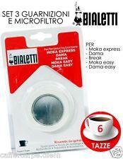Bialetti Ricambi 3 guarnizioni 1 piastrina moka 6 Tazze rubber rings dichtungen