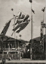 1929 OLD JAPAN Original Photo Gravure PAPER KOI FLAGS Carp Oragami Koinobori Art