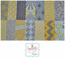 "Designer Fabric 5"" Squares Charm Pack, Yellow and Gray, 56 pcs, 100% cotton"