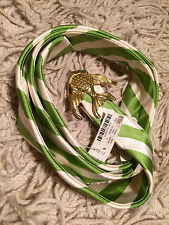 NEW Women's J Crew Green Striped SILK Belt with Gold Fish Buckle - Size L - RARE