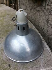 VINTAGE SILVER FACTORY LIGHT WITH ORIGINAL POT  FITTINGS