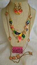 NWT BETSEY JOHNSON NECKLACE EARRINGS SET W/FREE SALMON PINK CAB NECKLACE