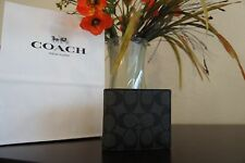NWT COACH F75006 Men Coin Wallet Charcoal/BLACK Signature PVC  $165