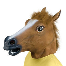 Funny Latex Horse Head Mask Cosplay Animal Halloween Party Costume Prop Brown