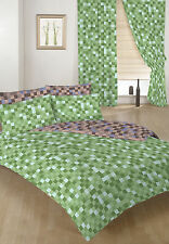 Green & Brown Pixels Double Bed Size Duvet Cover Set & 2 Pillowcases Children's