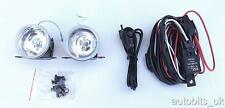 "UNIVERSAL 12v CLEAR ROUND FOG SPOT LIGHTS LAMPS LIGHT+ WIRING KIT 2.44"" NEW"