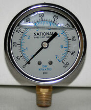 "100 PSI   2-1/2"" DIAL 1/4 NPT  PRESSURE GAUGE  NATIONAL  NEW"