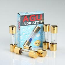 5 PACK AGU FUSE 80A AMP GOLD PLATED GLASS WITH BLOWN FUSE LED LIGHT INDICATOR