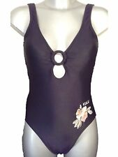 New Black Swimsuit UK 8 Sexy Low Front Ladies Bathing Suit Swimming Costume