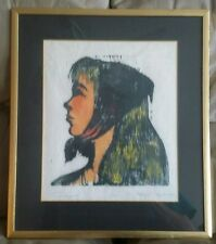 Vintage Portrait  Female Pen Ink/Watercolor Painting Original Art Signed Framing