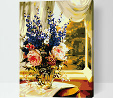 Paint by Number DIY KIT 16x20inch Window Flower Painting on Canvas With Frame