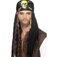Mens Pirate Dreadlocks Wig Fancy Dress of the Caribbean Jack Sparrow Bandana Fun