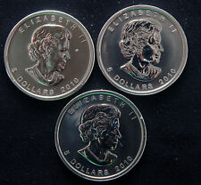 THREE (3) 2010 MAPLE LEAF 1 OZ  0.9999 FINE SILVER   LOT 190437  FROM MINT ROLL