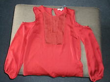 M&S Ltd Ed. Cut Out Shoulders L/Sleeved Embroidery Detail Blouse Top 8 Red BNWT
