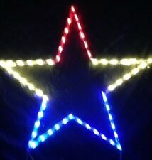 Large Red/White/Blue Holiday Star Outdoor LED Lighted Decoration Steel Wireframe