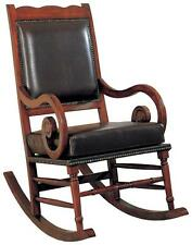Traditional Wood and Brown Bicast Leather Rocking Chair by Coaster 600188